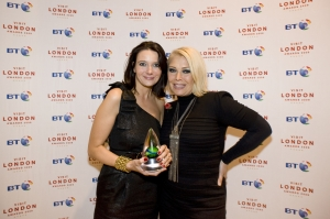 Emma De Souza (left) - the West End's answer to Wonder Woman with Kim Wilde.