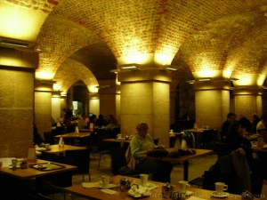 The atmospheric Cafe in the Crypt - refectory dining in style.