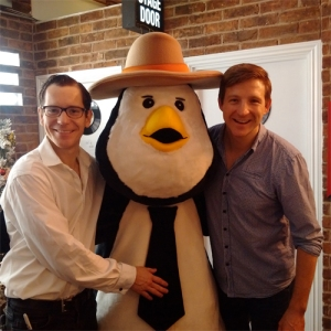 Haydn Oakley and Gabriel Vick with Barry the Penguin. At The Theatre Cafe
