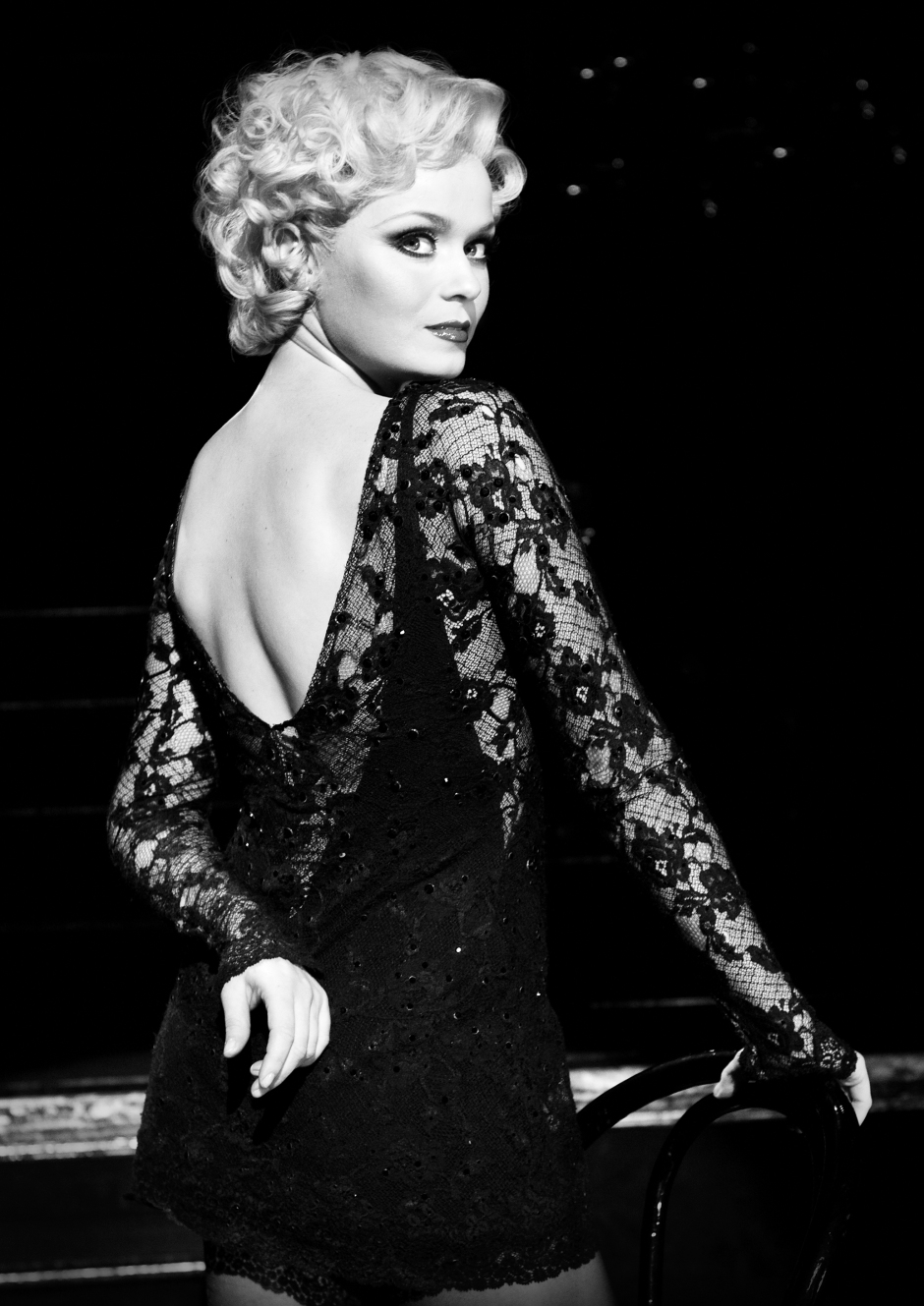 black and white photo of Sarah Soetaert in 'Chicago'