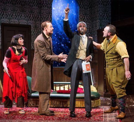 "Production still from ""The Play That Goes Wrong' London"