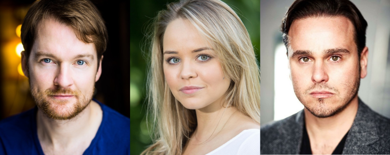 headshots of Killian Donnelly, Katie Hall, and Nic Greenshields
