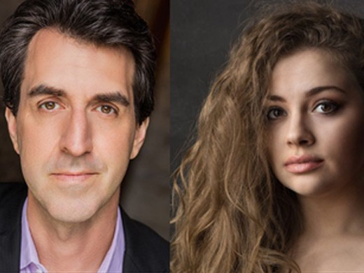 headshots of Jason Robert Brown and Carrie Hope Fletcher