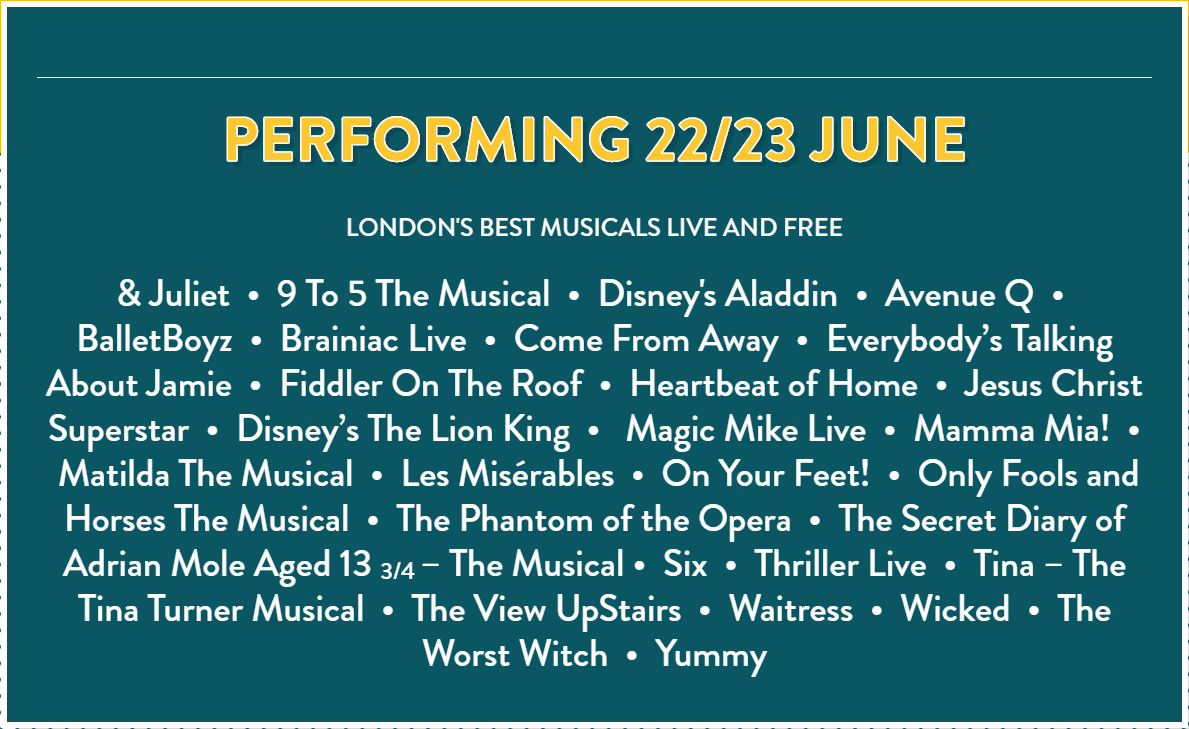 West End Live lineup