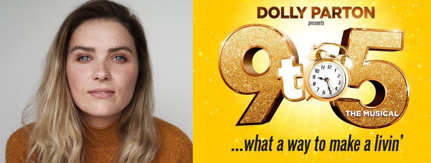 headshot of Chelsea Halfpenny with 9 to 5 promo image